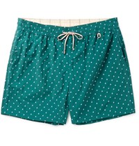 Loro Piana Slim Fit Mid Length Printed Swim Shorts Green