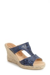 Patricia Green Snake Embossed Leather Wedge Sandal Blue