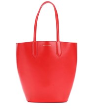Alexander Mcqueen Small Basket Leather Shopper Red