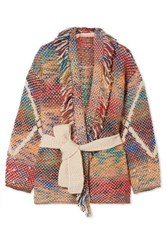 Vanessa Bruno Mindy Fringed Belted Jacquard Knit Cardigan Red