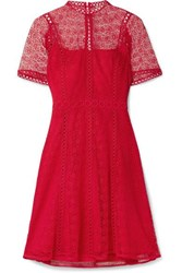 Michael Michael Kors Guipure Lace Mini Dress Red
