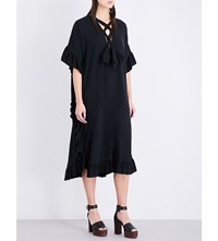 See By Chloe Kaftan Style Cotton And Linen Blend Dress Black
