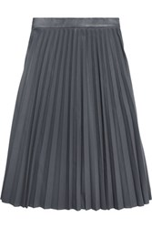 Iris And Ink Pleated Perforated Leather Skirt Gray