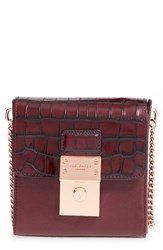 Ted Baker London 'Small Luggage Lock Maj' Leather Crossbody Bag Burgundy Oxblood