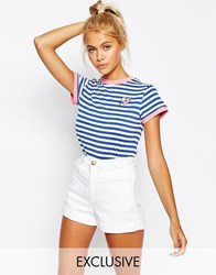 Lazy Oaf Hearty Stripe T Shirt Blue White Multi