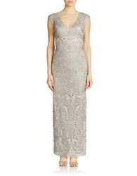 Sue Wong Embellished Column Gown Platinum