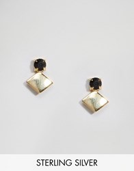 Asos Gold Plated Sterling Silver Stone Shape Earring Gold
