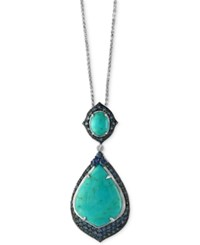 Effy Manufactured Turquoise 5 7 8 Ct. T.W. And Sapphire 2 1 4 Ct. T.W. Pendant Necklace In Sterling Silver Blue