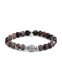 Tateossian Rhodium Mesh Bead Bracelet Brown