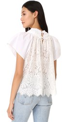 Sea Lace Back Pleated Top White