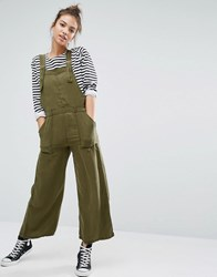 Pull And Bear Pullandbear Wide Leg Cargo Style Jumpsuit Khaki Green