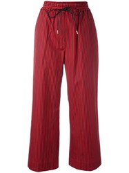3.1 Phillip Lim Striped Cropped Trousers Red