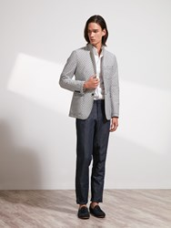Shanghai Tang Cotton Blend Blazer Slim Fit Off White