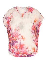 Chesca Sweetpea Print Chiffon Blouse Cream