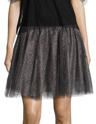 Necessary Objects Metallic Tulle Mini Skirt Silver