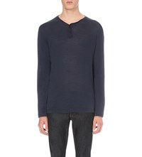 The Kooples Leather Trim Neckline Wool Top Blue
