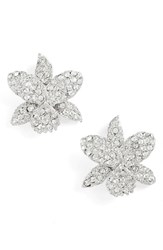 Nina Women's Small Orchid Crystal Stud Earrings Silver