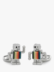 Paul Smith Artist Stripe Robot Cufflinks Silver Multi