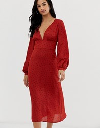Fashion Union Plunge Midi Dress In Vintage Floral Rust Spot Red