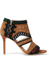 Tamara Mellon Arizona Laser Cut Suede Sandals Tan