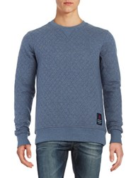 Guess Quilted Crewneck Pullover Blue