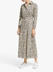 Second Female Wisely Floral Print Long Shirt Dress Black Multi