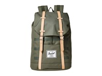 Herschel Retreat Deep Lichen Green Stripe Veggie Tan Leather Backpack Bags Olive