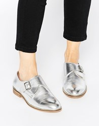 Asos Moss Wide Fit Leather Flat Shoes Silver