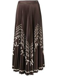 Valentino Slogan Pleated Midi Skirt Green