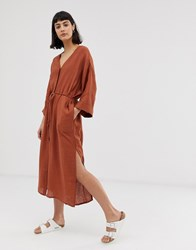 Weekday Smock Button Front Dress In Rust Red