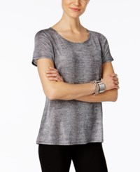 Ny Collection Metallic T Shirt Black Foil