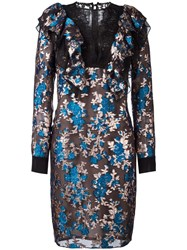 Lanvin Embroidered Floral Lace Dress Blue