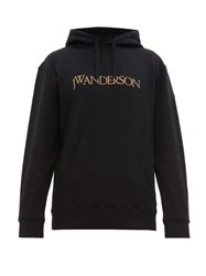 J.W.Anderson Jw Anderson Logo Embroidered Cotton Hooded Sweatshirt Black Red