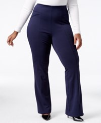 Inc International Concepts Plus Size Ponte Bootcut Pants Only At Macy's Deep Twilight