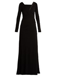 Versace Crystal Embellished Long Sleeved Jersey Gown Black