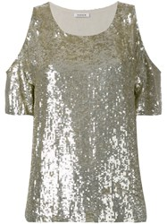 P.A.R.O.S.H. Cold Shoulder Sequin Top Metallic