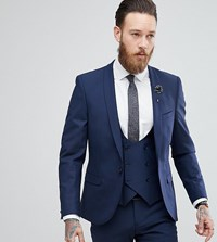 Noose And Monkey Super Skinny Wool Mix Suit Jacket In Navy Navy