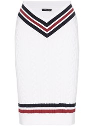Y Project High Waisted Contrast Stripe Knitted Midi Skirt White