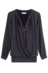 Velvet Draped Blouse Grey