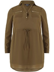 Samya Plus Size Shirt Dress Khaki