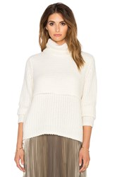 Mason By Michelle Mason Double Layer Turtleneck White