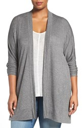 Sejour Plus Size Women's 'Bess' French Terry Cardigan Grey Dark Charcoal Heather