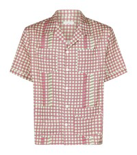 Valentino Cross Print Silk Bowling Shirt Male Pink