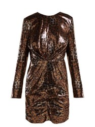 Msgm Leopard Print Sequinned Mini Dress Black Gold