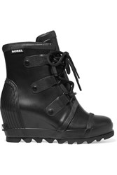 Sorel Joan Rain Waterproof Rubber Wedge Boots Black