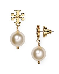 Tory Burch Simulated Pearl Drop Earrings Ivory Shiny Gold