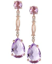 Macy's Rose Amethyst 13 Ct. T.W. And Diamond Accent Drop Earrings In 14K Rose Gold