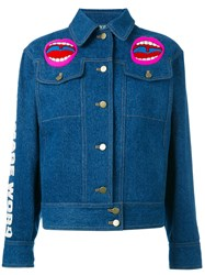 Olympia Le Tan Word Image Denim Jacket Women Cotton 36 Blue