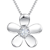 Jools By Jenny Brown Cubic Zirconia Flower Pendant Necklace Silver
