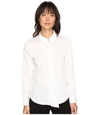 Ivanka Trump Long Sleeve Woven Ruffle Front Blouse Ivory Women's Blouse White